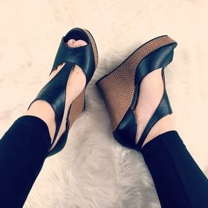 BC Black Leather Wedges